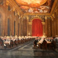 A painting of the Painted Hall, Greenwich, on display at The Naval Club, Mayfair.